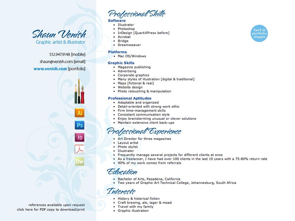 Shaun Venish Graphic Design Resume